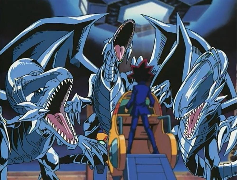 three blue eyes white dragons vs yami yugi first episode ofyugioh