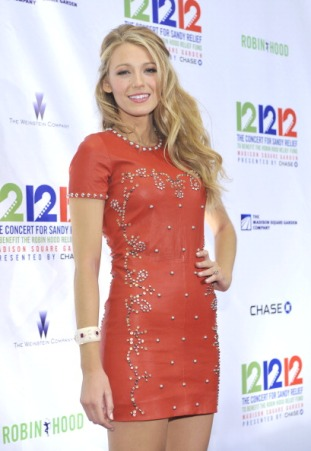 NEW YORK, NY - DECEMBER 12: Blake Lively attends 12-12-12 the Concert for Sandy Relief at Madison Square Garden on December 12, 2012 in New York City. (Photo by Michael N. Todaro/FilmMagic)