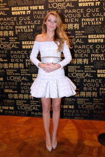 PARIS, FRANCE - OCTOBER 29: Blake Lively attends the presentation announcing her as the new L'Oreal Paris Egerie for makeup, coloring and hair care at Shangri-La Hotel Paris on October 29, 2013 in Paris, France. (Photo by Bertrand Rindoff Petroff/Getty Images)