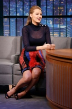 LATE NIGHT WITH SETH MEYERS -- Episode 193 -- Pictured: Actress Blake Lively during an interview on April 22, 2015 -- (Photo by: Lloyd Bishop/NBC/NBCU Photo Bank via Getty Images)