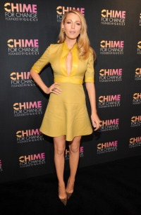 NEW YORK, NY - JUNE 03: Blake Lively attends the CHIME FOR CHANGE One-Year Anniversary Event hosted by Gucci Creative Director Frida Giannini and T Magazine Editor-In-Chief Deborah Needleman at Gucci Fifth Avenue on June 3, 2014 in New York City. (Photo by Kevin Mazur /Chime For Change/Getty Images for Gucci/Getty Images for Gucci)