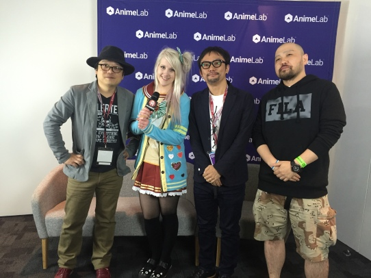 From Left to Right: SAO Character Designer Adachi Shingo, Madman Entertainment's representative Jessica, SAO Director Tomohiko Ito and A1 Pictures' Producer Atsushi Kaneko