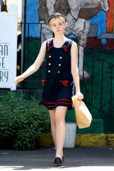 Exclusive! Elle Fanning is a Vintage Navy Girl. Los Angeles CA 08/30/2011Ref#AKM6284 Credit Byline: Lanicepix/AKM Images Contact Sales: Alex or Thaissa at sales@akmimages.net Phone: +1 424.237.2908